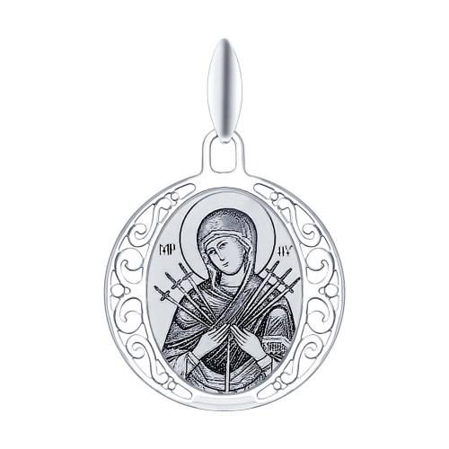 Серебряная иконка «Икона Божьей Матери Семистрельная» - фото 5173