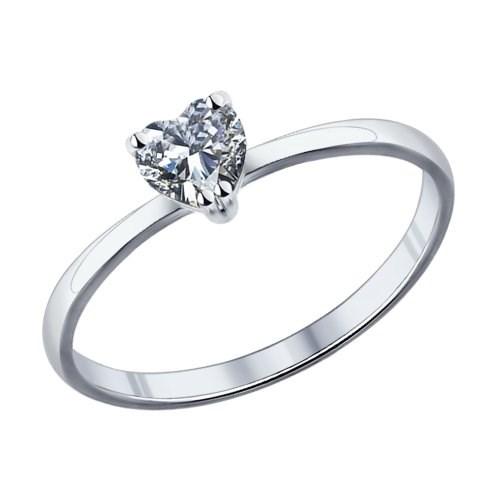 Помолвочное кольцо из серебра с фианитом - фото 5198