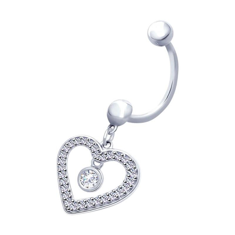 Пирсинг из серебра в виде сердца - фото 5217