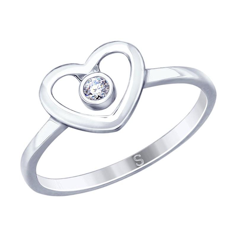 Кольцо из серебра с фианитом - фото 5231