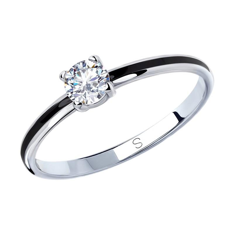 Кольцо из серебра с эмалью и фианитом - фото 5257