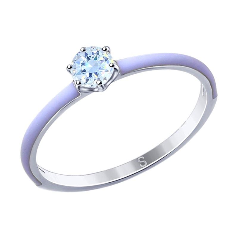 Кольцо из серебра с эмалью и фианитом - фото 5261