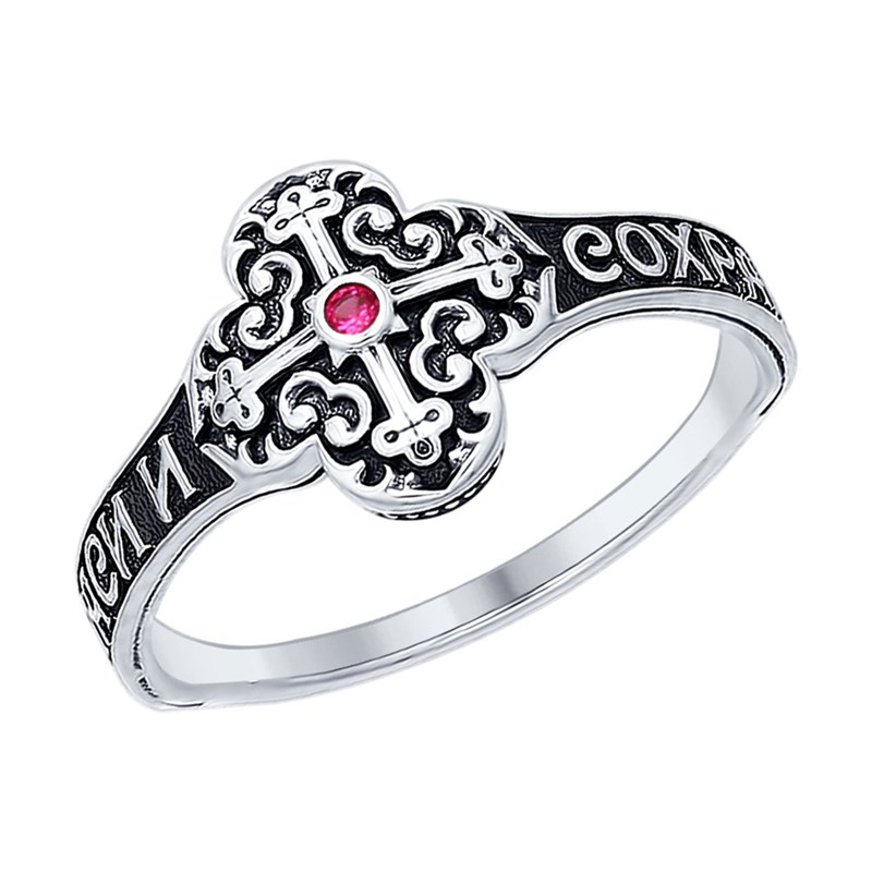 Кольцо из чернёного серебра с фианитом - фото 5269
