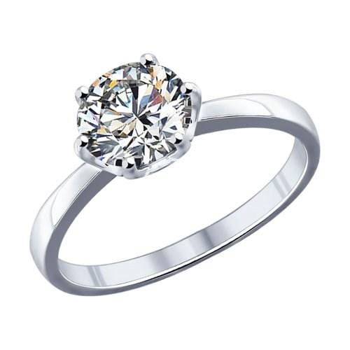 Кольцо из серебра с фианитом - фото 5273