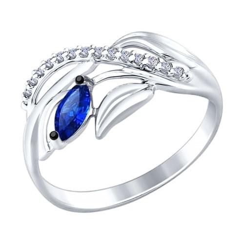 Кольцо из серебра с бесцветными и синим фианитами - фото 5283