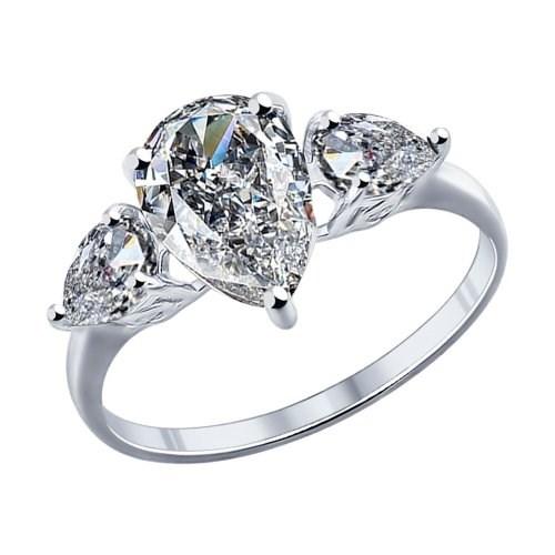Кольцо из серебра с крупными фианитами - фото 5284
