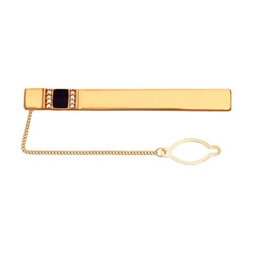 Позолоченный зажим для галстука с полосками фианитов и эмалью - фото 5299