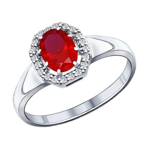 Кольцо из серебра с корундом рубиновым (синт.) и фианитами - фото 5408