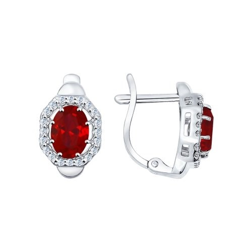 Серьги из серебра с корундами рубиновыми (синт.) и фианитами - фото 5409