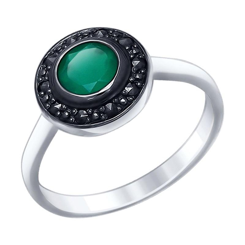 Кольцо из серебра с агатом и марказитами - фото 5419
