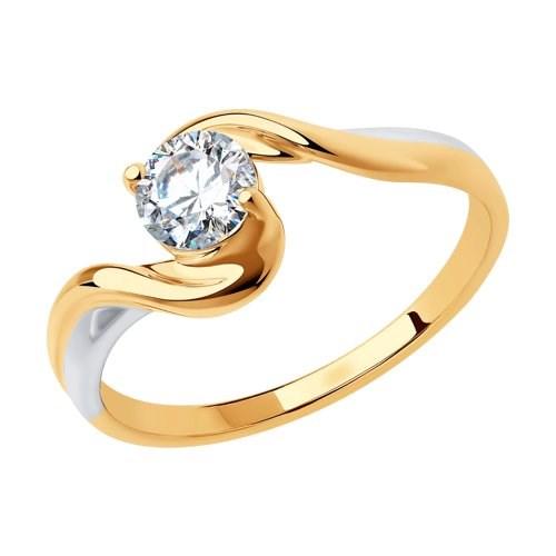 Золотое кольцо с фианитом - фото 5499