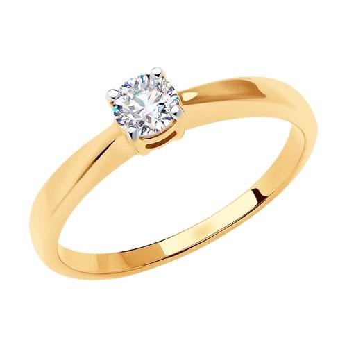 Золотое кольцо с фианитом - фото 5507