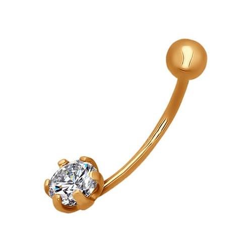 Пирсинг в пупок из золота с фианитом - фото 5530