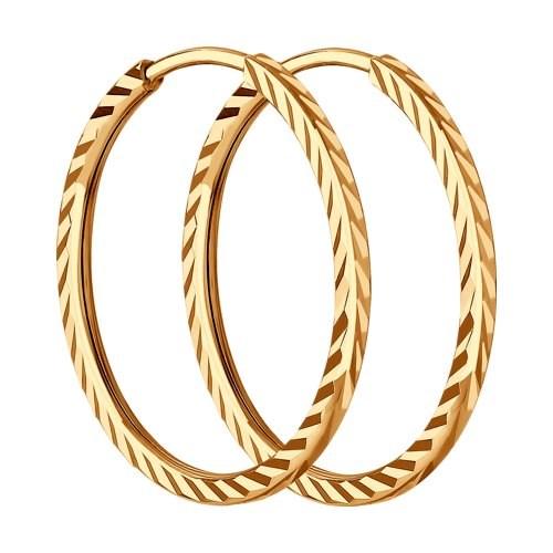 Золотые серьги конго с алмазной гранью - фото 5542