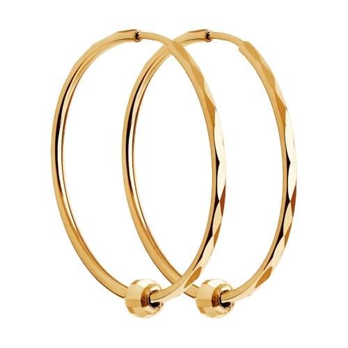 Серьги конго из золота с алмазной гранью - фото 5549
