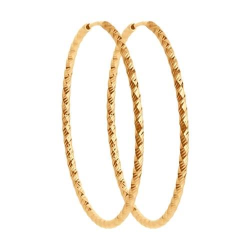 Серьги конго из золота с алмазной гранью - фото 5552