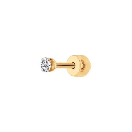 Серьги одиночные из золота с фианитом - фото 5557