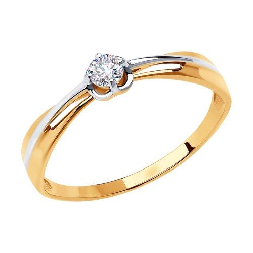 Кольцо из золота с фианитом Swarovski - фото 5567