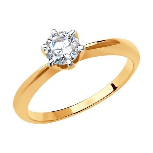 Кольцо из золота с фианитом Swarovski - фото 5569