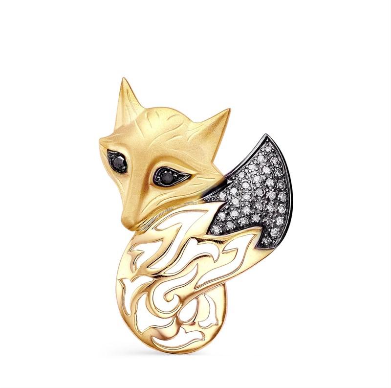 """Подвеска """"Лисичка"""" из золота с бриллиантами - фото 5599"""