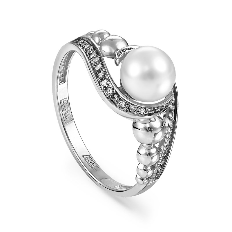 Кольцо из белого золота с жемчугом - фото 5638
