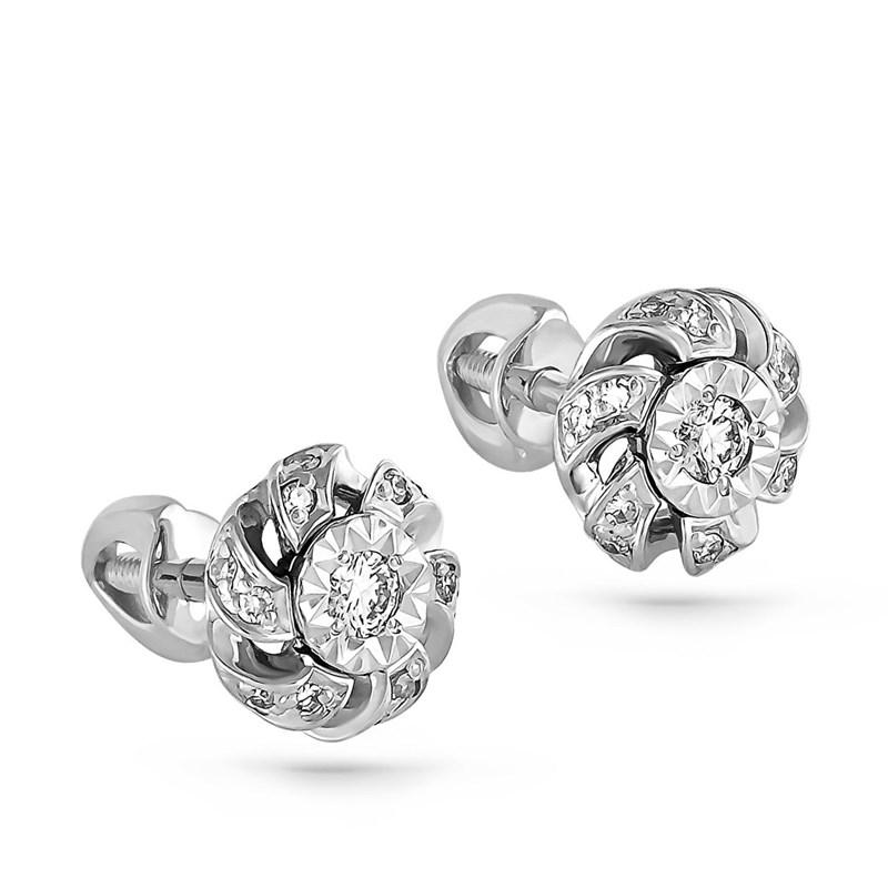 Серьги из белого золота с бриллиантами - фото 5670
