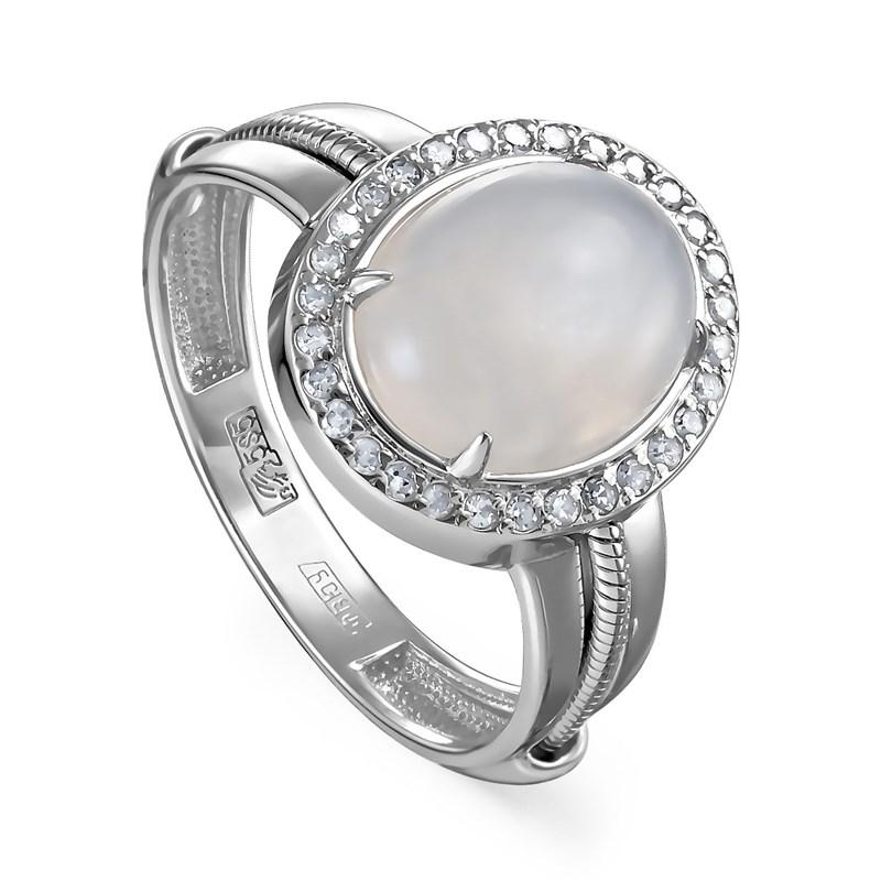Кольцо из белого золото с лунным камнем и бриллиантами - фото 5690