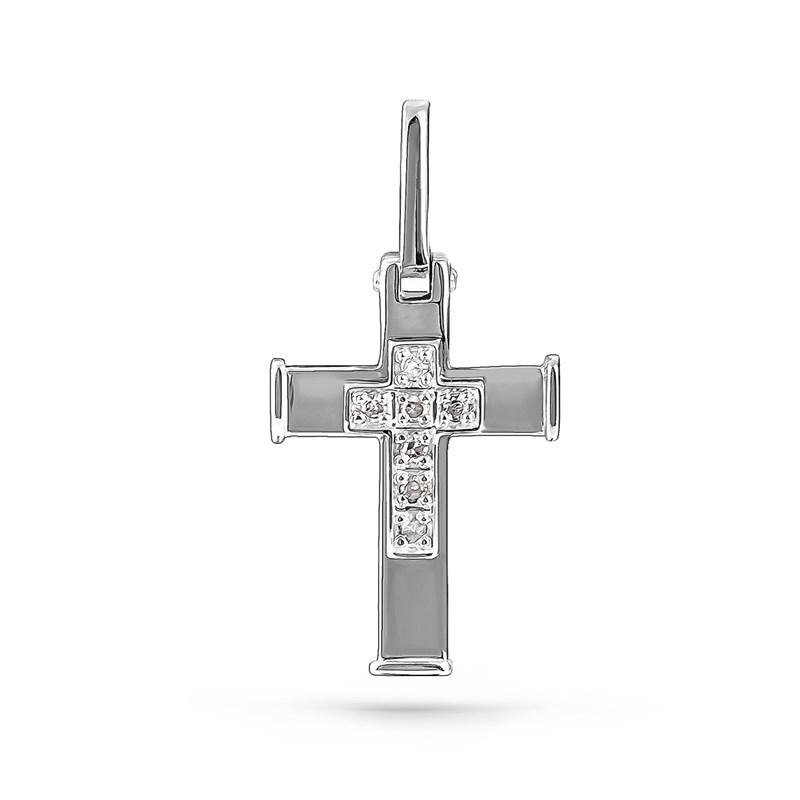 Крестик из белого золота с бриллиантами - фото 5756