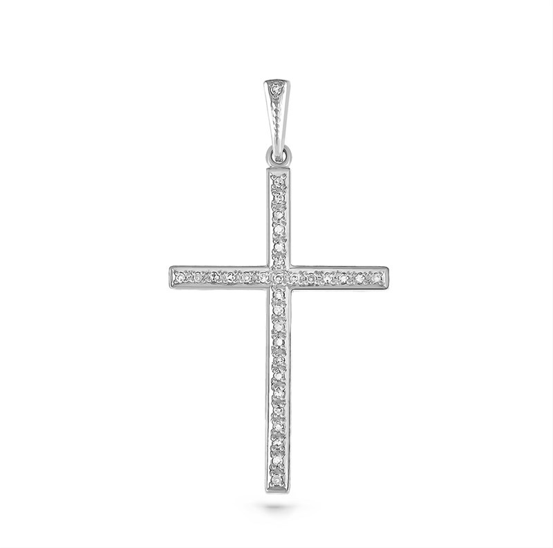 Крестик из белого золота с бриллиантами - фото 5757