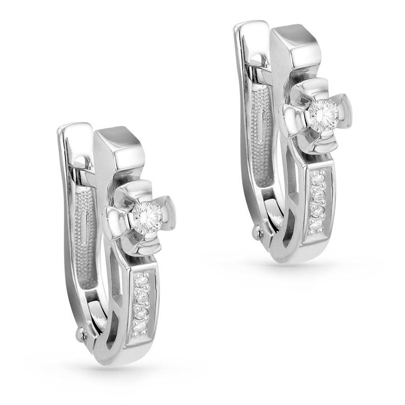 Серьги из белого золота с бриллиантами - фото 5766