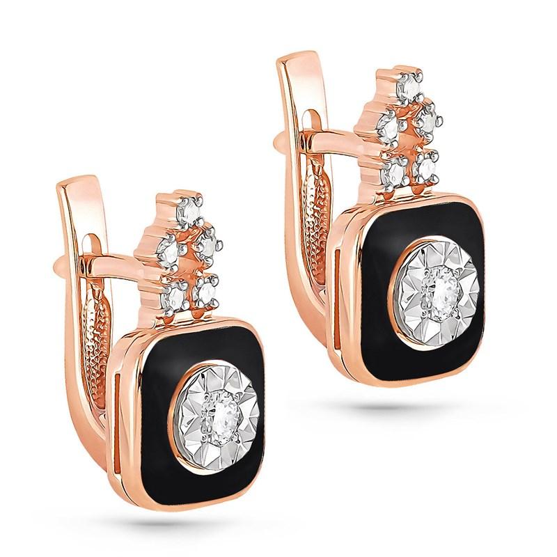Золотые серьги с эмалью и бриллиантами - фото 5769