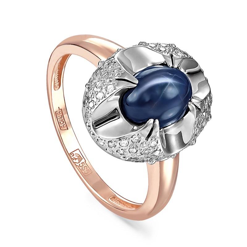 Золотое кольцо с сапфиром и бриллиантами - фото 5778