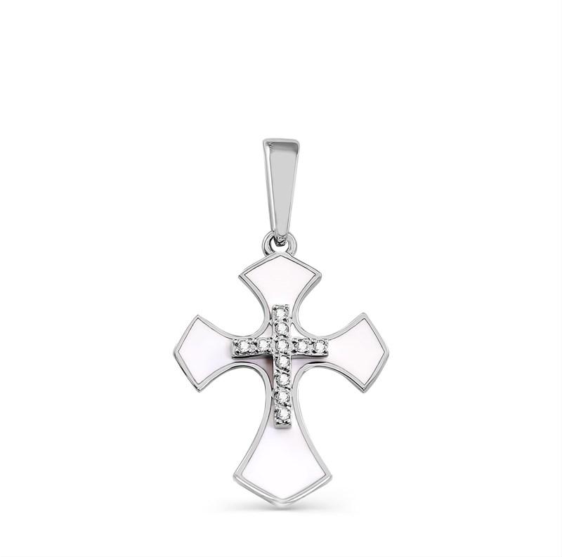 Крестик из белого золота с бриллиантами - фото 5788
