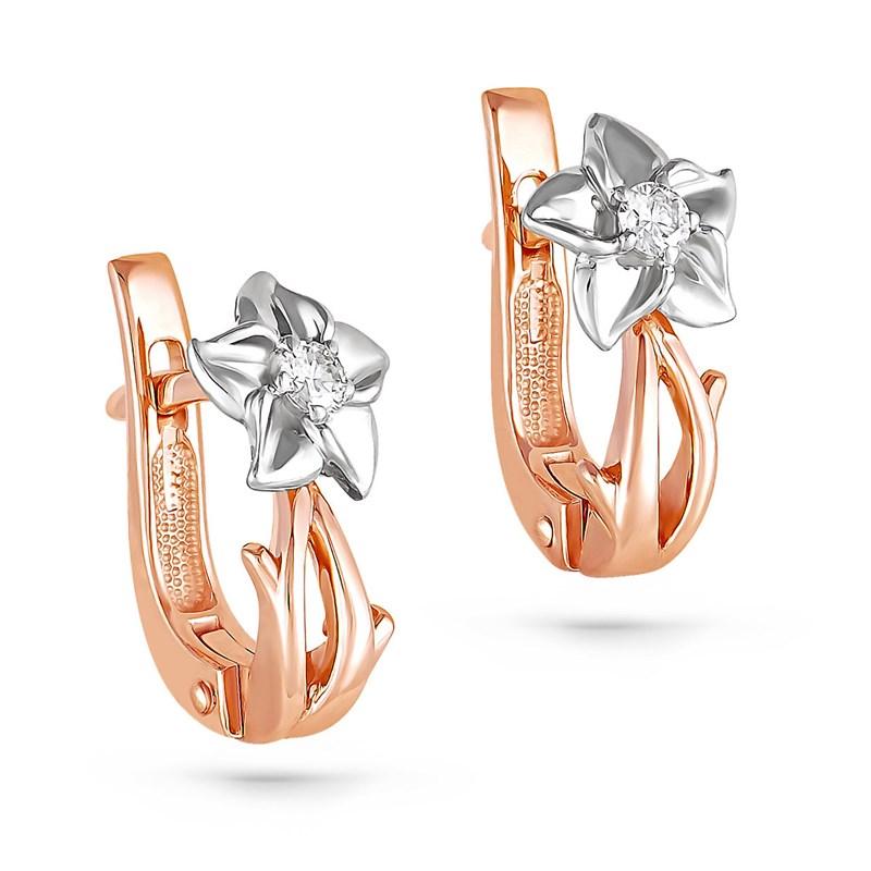 Золотые серьги с бриллиантами - фото 5800