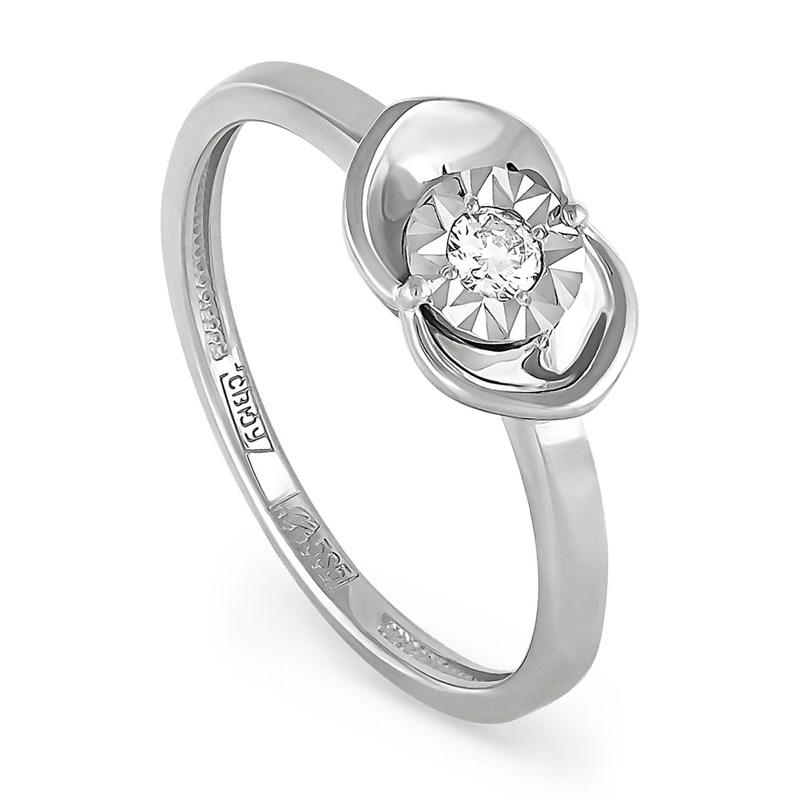 Кольцо из белого золота с бриллиантом - фото 5803