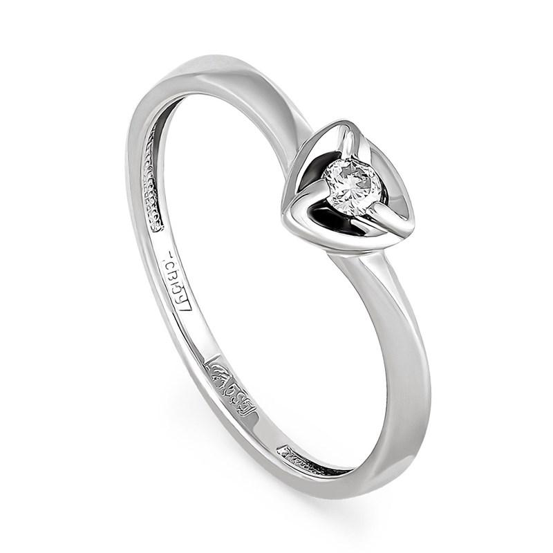 Кольцо из белого золота с бриллиантом - фото 5804