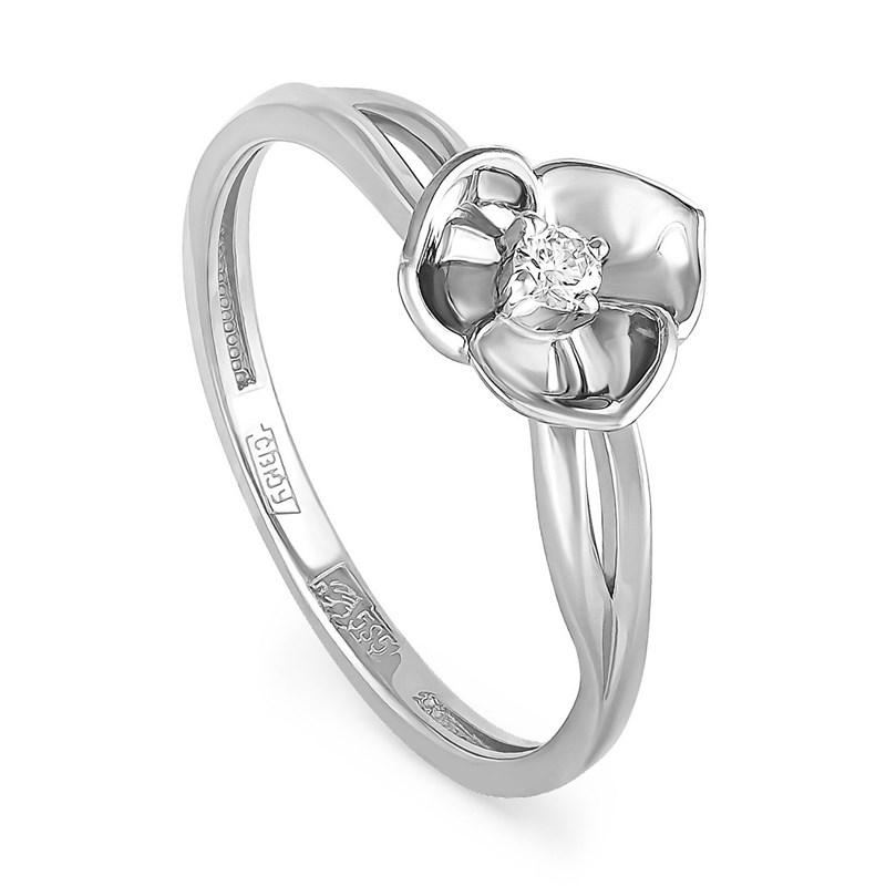 Кольцо из белого золота с бриллиантом - фото 5805