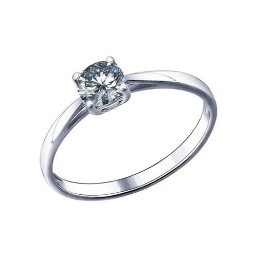 Помолвочное кольцо из серебра с фианитом - фото 5811
