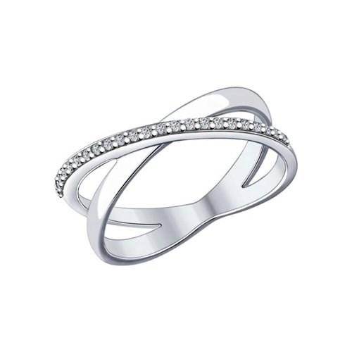 Кольцо из серебра с фианитами - фото 5813