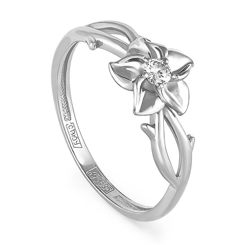 Кольцо из белого золота с бриллиантом - фото 5814