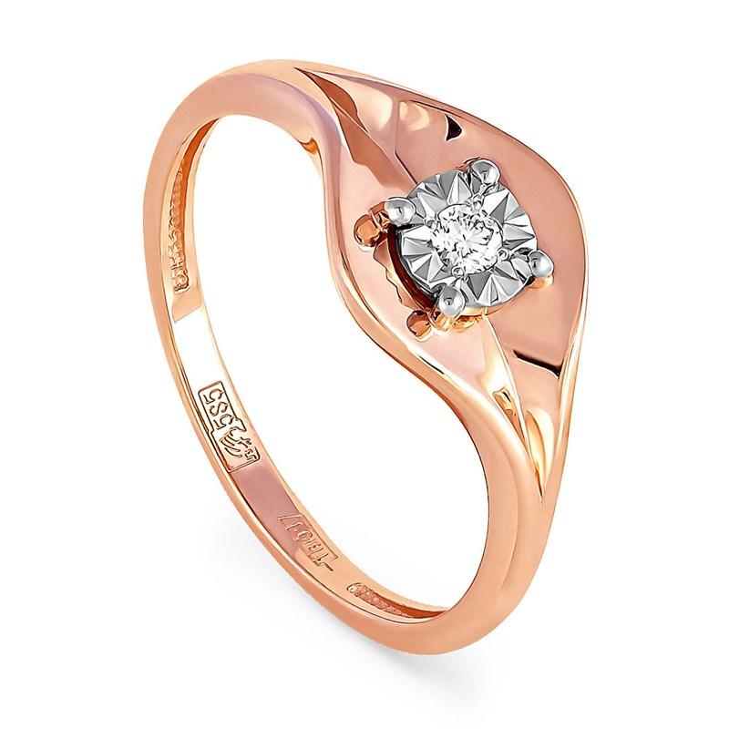 Золотое кольцо с бриллиантом - фото 5821
