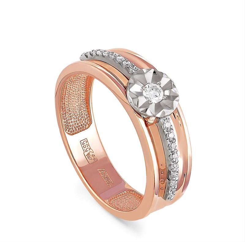 Золотое помолвочное кольцо с бриллиантами - фото 5831