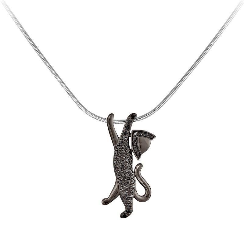 "Колье ""Хэппи cat""  из белого золота с бриллиантами - фото 5835"