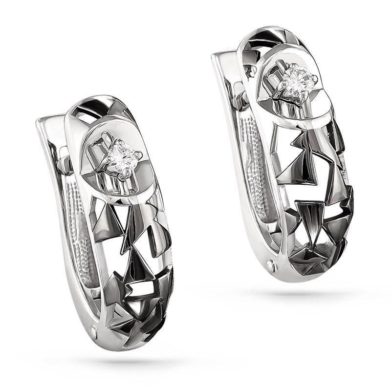 Серьги из белого золота с бриллиантами - фото 5837