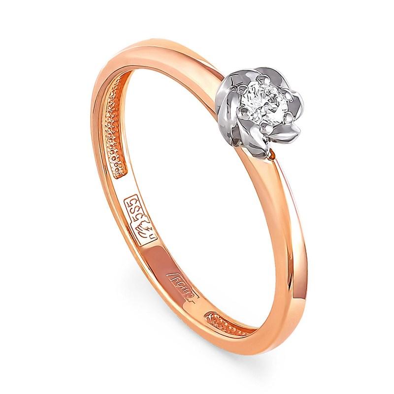 Золотое кольцо с бриллиантом - фото 5844