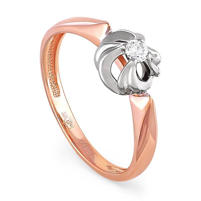 Золотое кольцо с бриллиантом - фото 5845