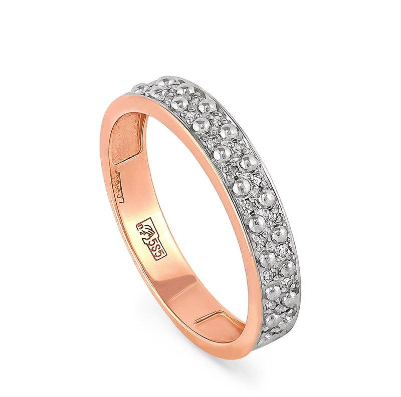 Обручальное золотое кольцо с бриллиантами - фото 5848
