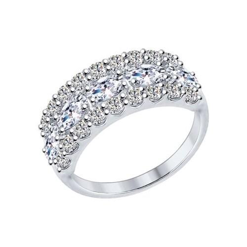 Кольцо из серебра с фианитами - фото 5854