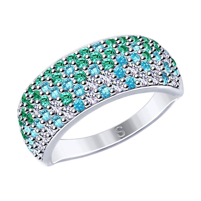 Кольцо из серебра с фианитами - фото 5856