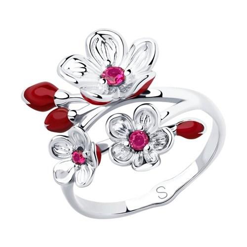 Кольцо из серебра с эмалью и фианитами - фото 5860